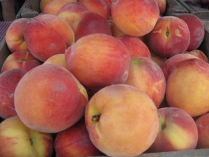Peaches for making Peach-Blueberry Cobbler tonight.