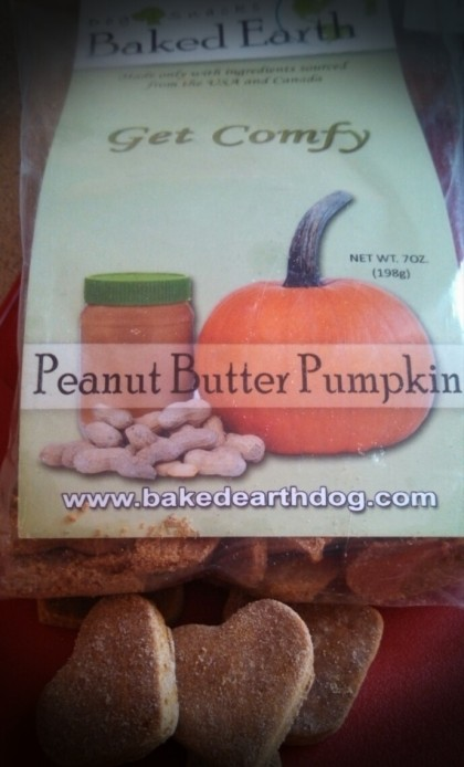 Peanut Butter Pumpkin Dog Treats by Baked Earth. Bella loves them, Quincy won't even try them.