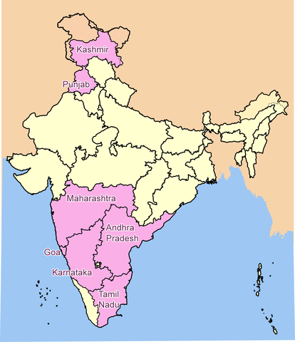 Map of India's wine regions