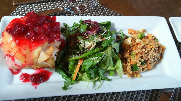 Willie Bird Smoked Turkey Sandwich - Smoked Turkey, Amish Cheddar, Cranberry Chutney, Herb Aioli, Open faced Corn Bread Served with a cold Israeli couscous salad and some lightly dressed greens