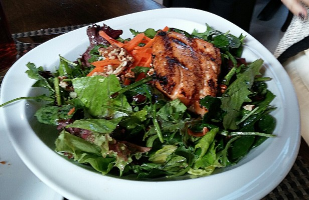 Salmon Over a Greens Salad